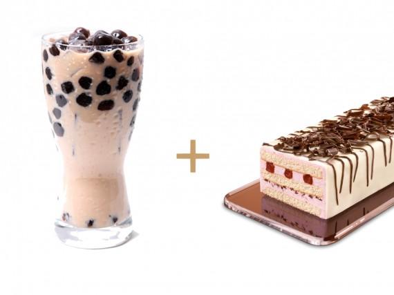 Kuchen Café Lounge Kirsch Sahne-Joghurt mit Bubble Tea