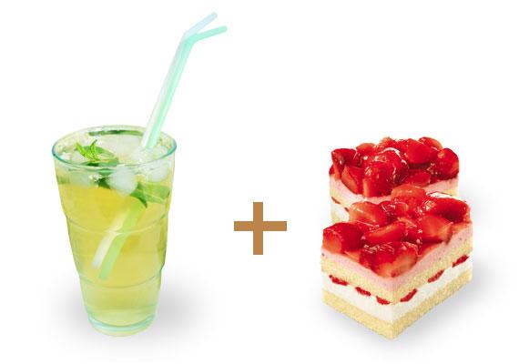 """Perfekte Kombi: Hugo zur sahnigen Erdbeer-Joghurt-""""Schnitte"""""""