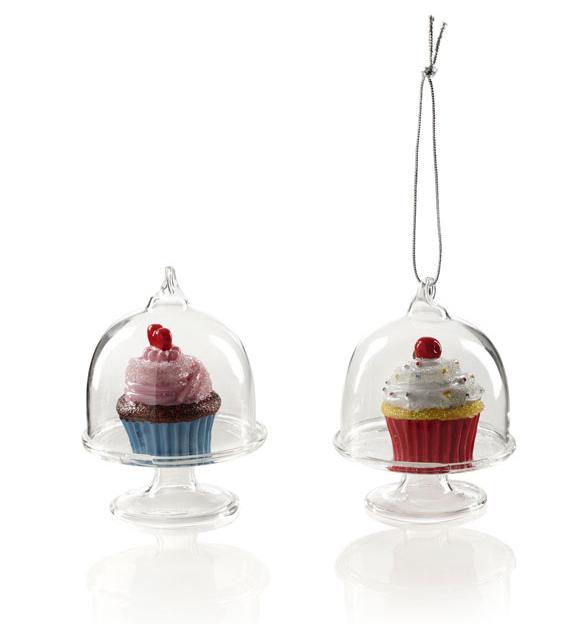 Baumschmuck Cupcake und Glasglocke