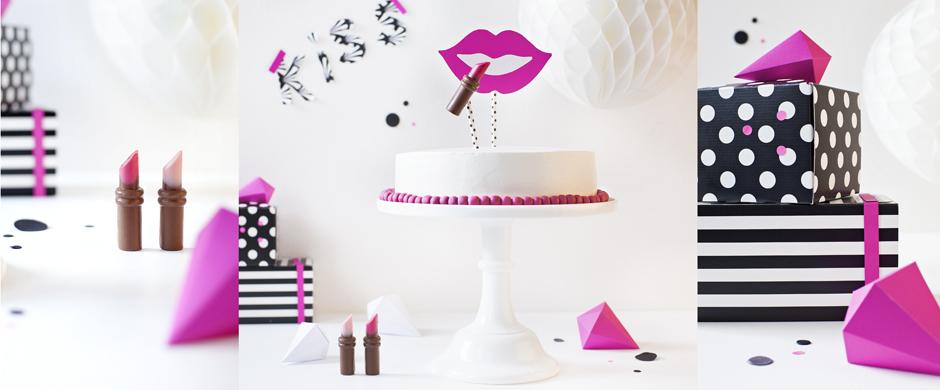 Lucky-Lips auf Sahne-TorteGeburtstags-Torte mit