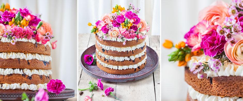 HochzeitstorteTrend: Naked Cake mit Flower Power