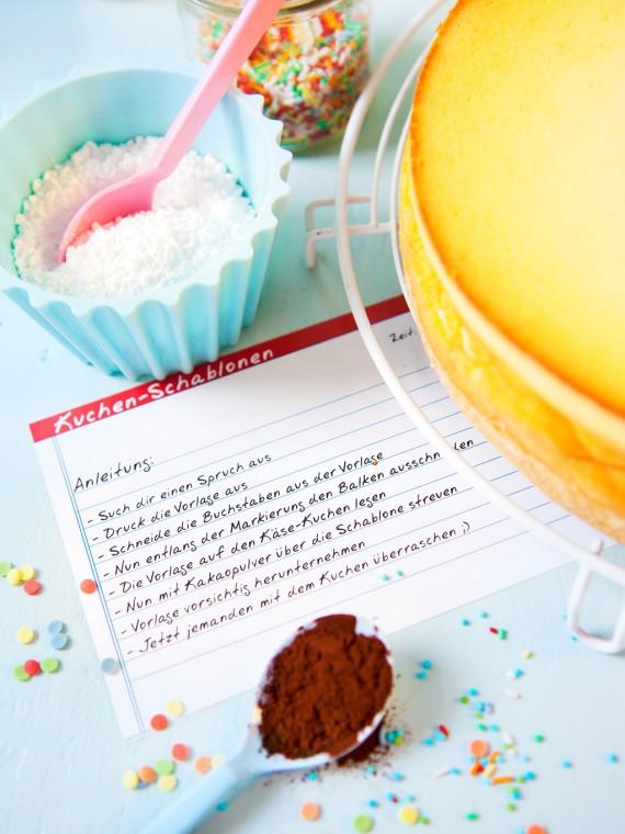 Anleitung für Kuchen-Schablonen