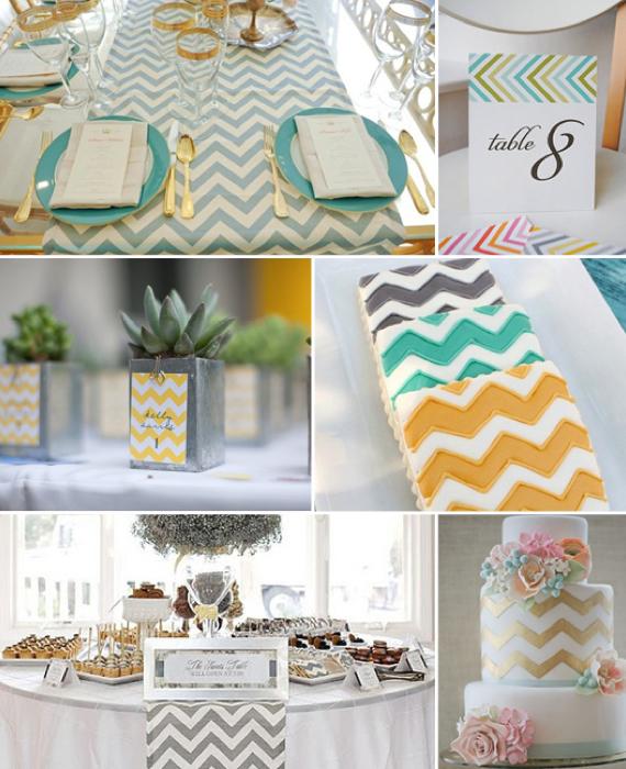 Zackige Hochzeitstischdeko in bunten Farben