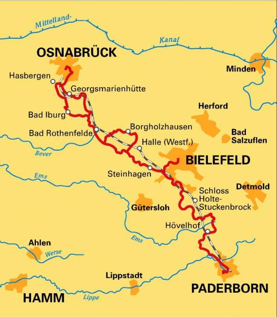 Fahrradstrecke zwischen Osnabrück und Paderborn