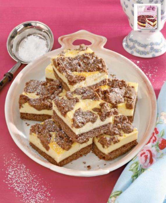 Kombination aus Schokoladen- und Käsekuchen