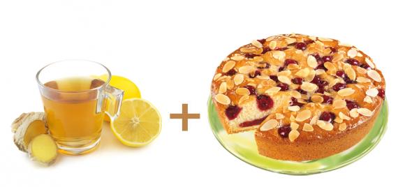 Tolle Winter-Kombi: Ingwer-Zitronen Tee mit Kirsch-Mandel-Kuchen