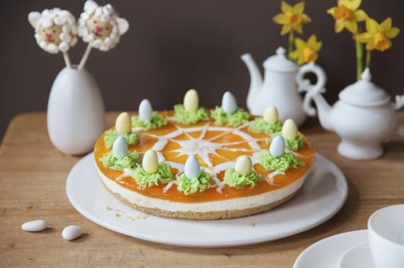 Ostern Mandarin Torte Dessert Oster Eier Kaffee Tisch