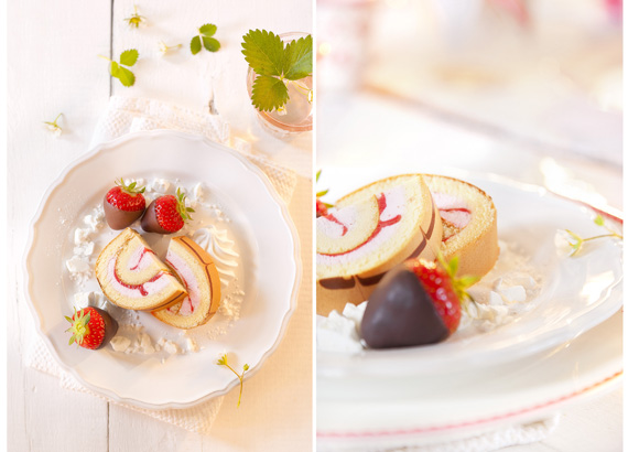 Erdbeer-Sahne-Rolle-Dessert
