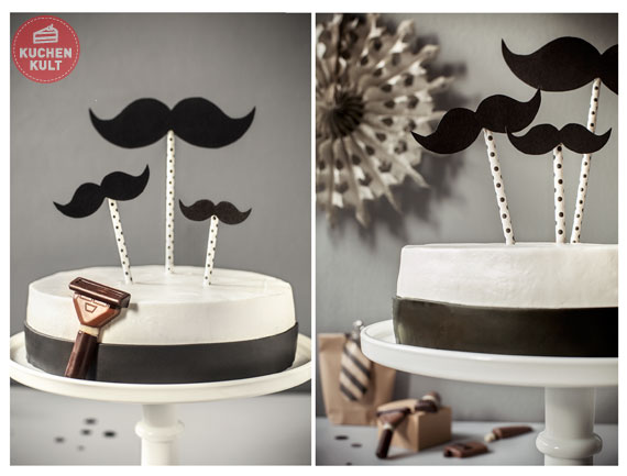 black and white cake oder torte f r m nner bart kuchen. Black Bedroom Furniture Sets. Home Design Ideas