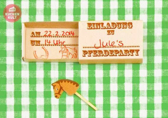 Kindergeburtstag, Einladungskarte, Mädchen, Pferde