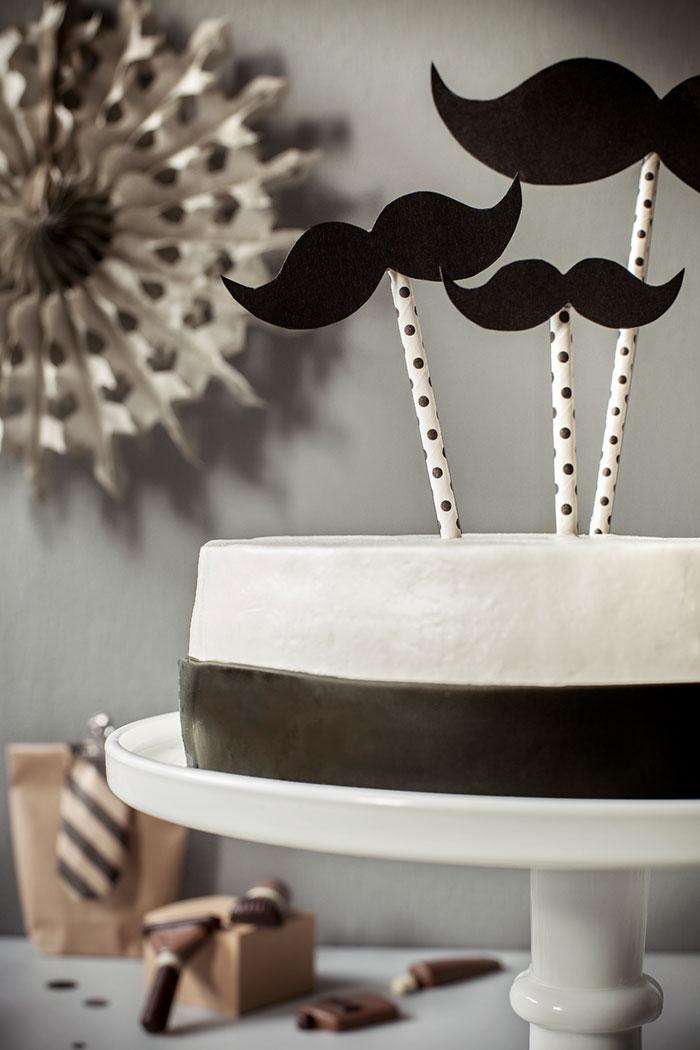 Schwarzweiß Geburtstagstorte für Männer mit Bart-Deko