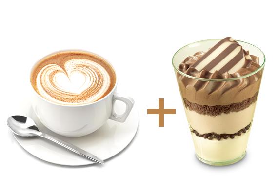 Flat White mit dem Dessert Mousse au Chocolat