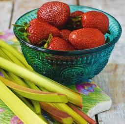 Saisonlieblinge: Rhabarber-Schorle und Erdbeer-Joghurt-Schnitte