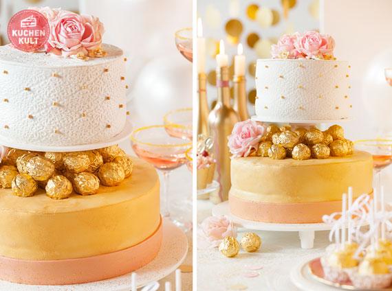 Goldhochzeit: Hochzeitstorte mit Gold festlich dekorieren »