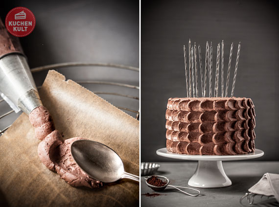 Geburtstagstorte mit Kerzen, Sahnetechnik, Löffel