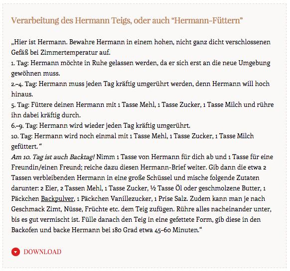 Hermann Kuchen Backen Hermann Teig Rezept Anleitung