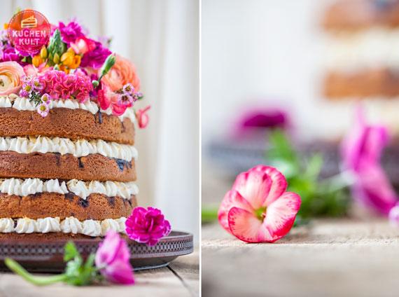 farbenfrohe Blumendekoration für Hochzeitstorte