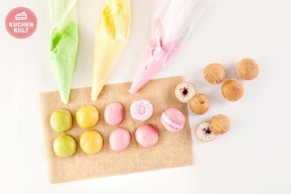Macarons selber machen einfaches Rezept aus Mini Berlinern