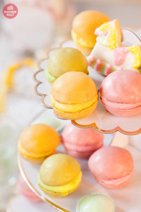 einfaches Rezept Macarons, Himbeer, Zitrone, Waldmeister
