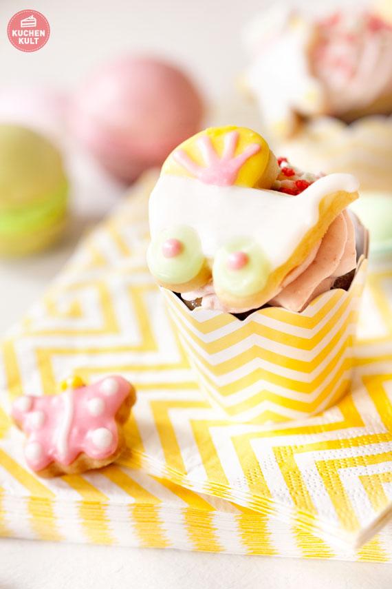 Cupcake Topper Kinderwagen Schmuckkekse