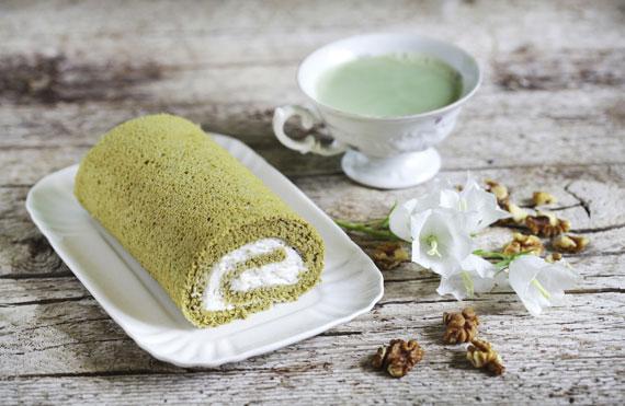 Matcha Tee Biskuitrolle Gebäck Kuchen