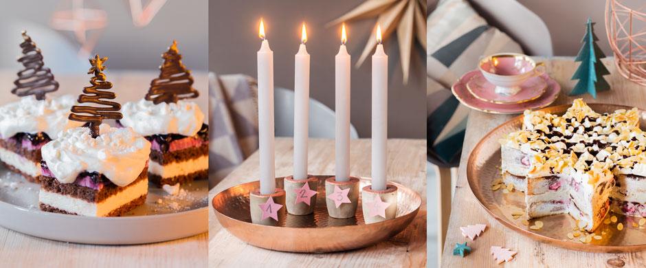 Advents-Kaffeemit Kuchen-Baum und Torten-Stern