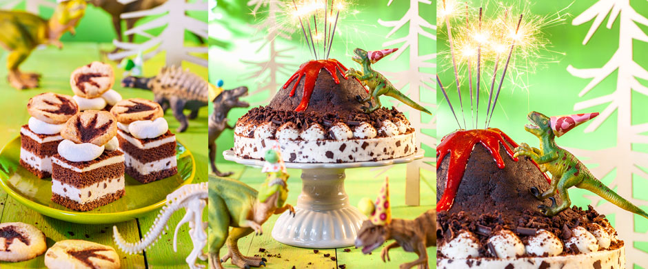 Roarrrr!Ein Dinosaurier-Kindergeburtstag mit brodelnder Lava-Torte!