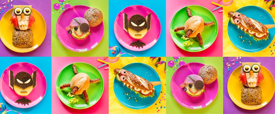 Fun Food zu KarnevalKostümierte Brötchen als Partysnack