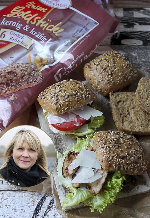 Caesar´s Salad Chickenburger mit Dinkel Brötchen Coppenrath und Wiese