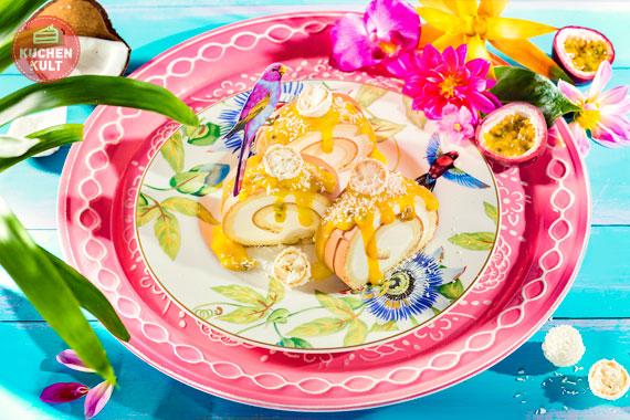 Zitronen Sahne Rolle mit Passionsfrucht und Raffaello