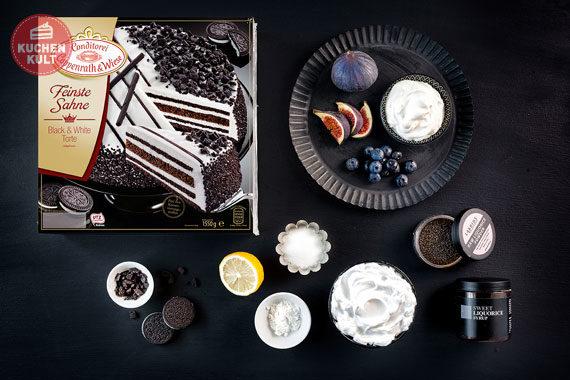 Black & White Torte Coppenrath & Wiese mit Baiser und Lakritzsoße