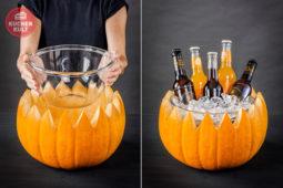 DIY-Idee für Halloween: Kürbis-Getränkehalter