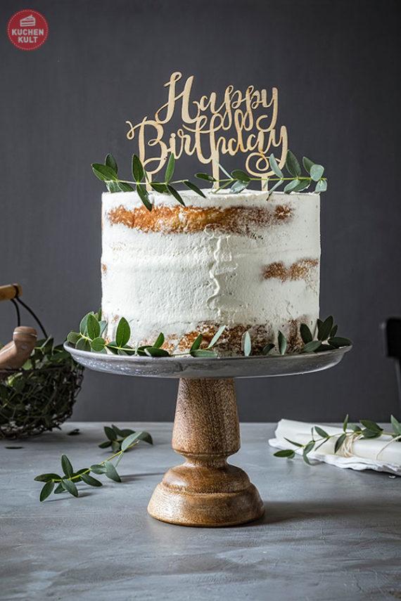 Happy Birthday Idee Apfelkuchen Kräuter Naked Cake