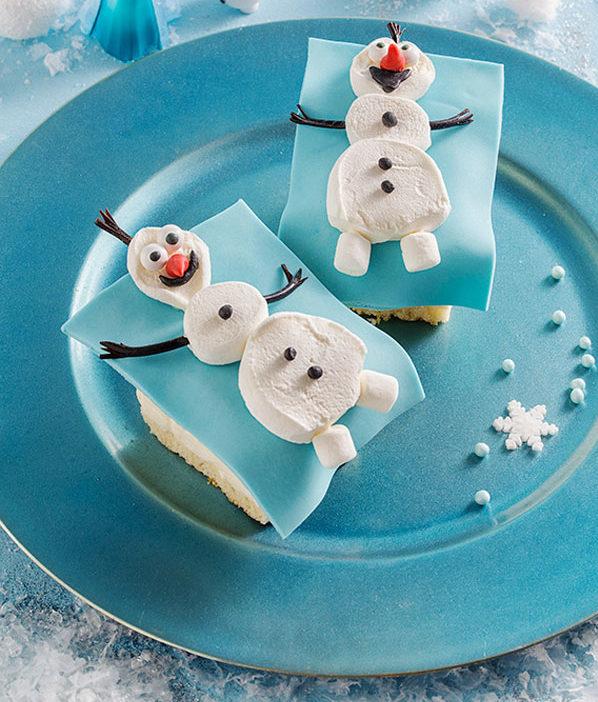 Schneemann aus Marshmallows - Snack, Kuchen, Tipp Kindergeburtstag