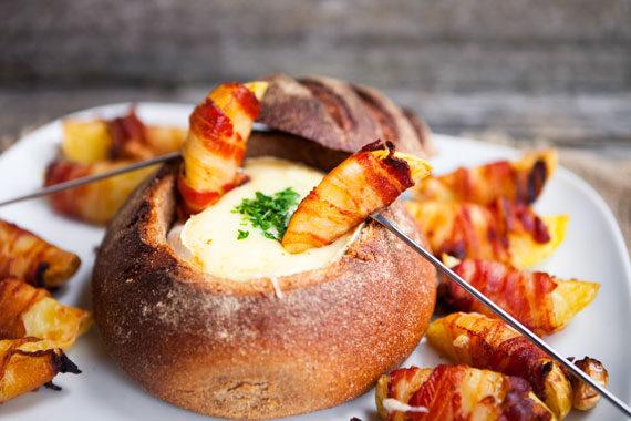 Käse Fondue Speck-Kartoffeln