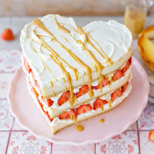 Rezept für Kuchen zum Valentinstag und Idee für Deko in drei Lagen