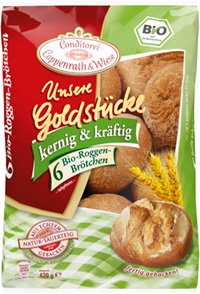 Coppenrath&Wiese Unsere Goldstücke kernig & kräftig Bio Roggen-Brötchen Verpackung