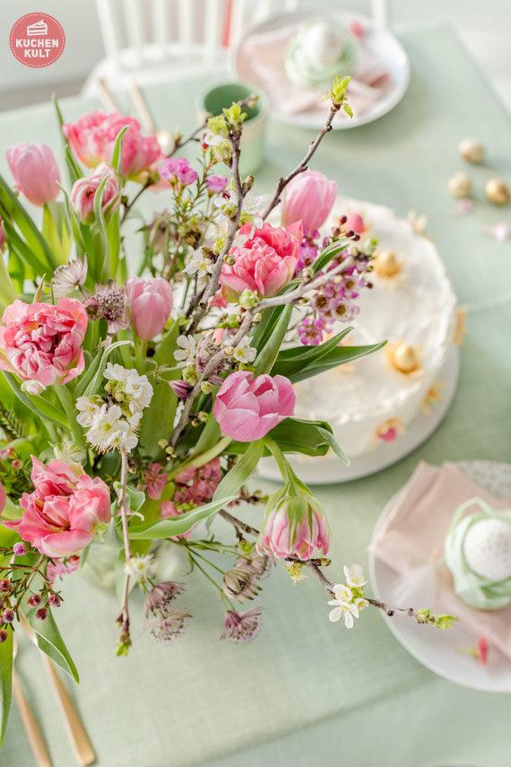 Ostertorte Rezept Tischdeko Frühlingsblumen Ostern
