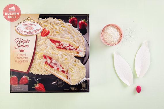 Ostertorte Rezept einfach Erdbeer-Pannacotta-Torte Coppenrath und Wiese Hasentorte Ohren