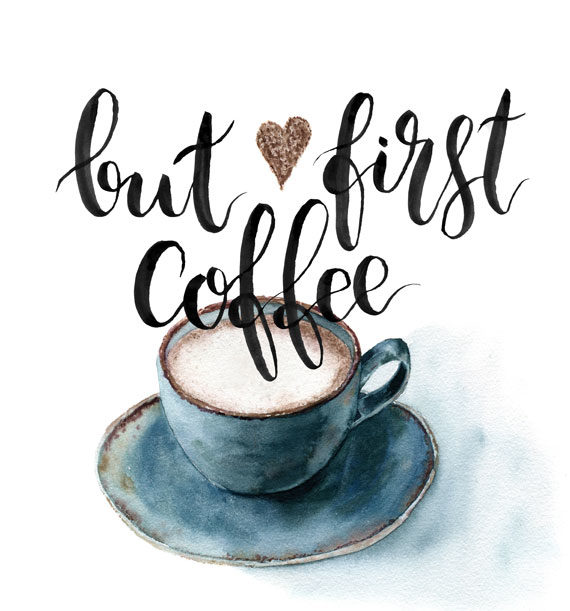 Wandbild Spruch lustig Poster mit Text buf first coffee