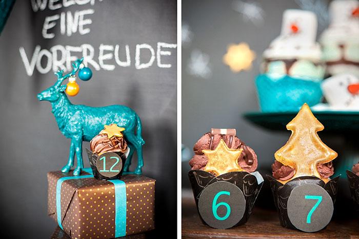 Idee für Weihnachtscupcakes als Adventskalender zum selber basteln