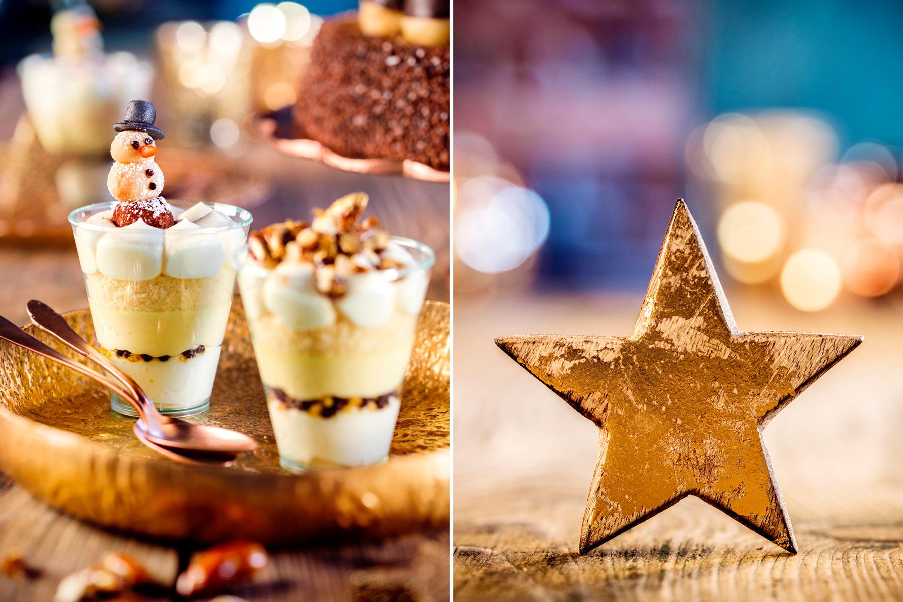 Weihnachtliches Dessert Rezept und Deko mit Stern