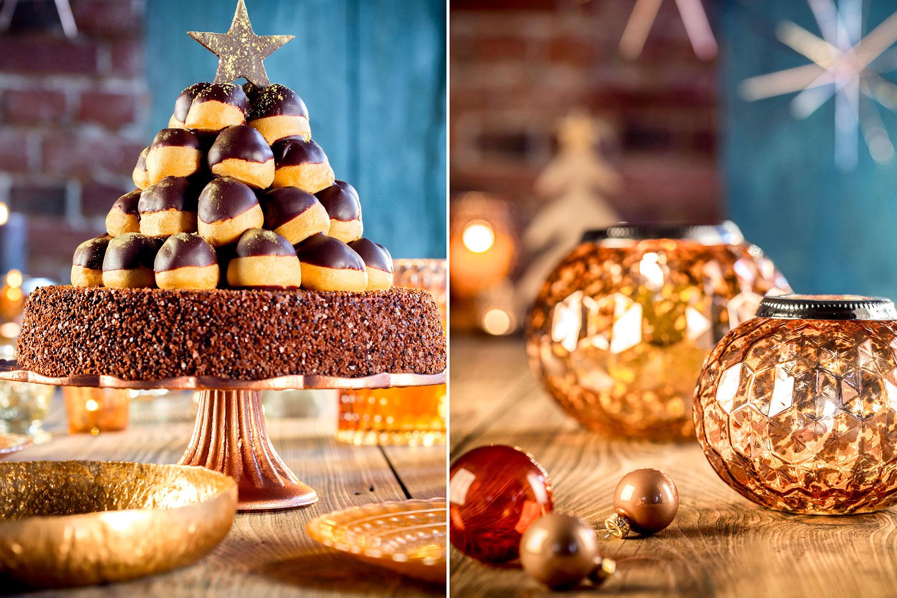 Weihnachtstorte Rezept und Deko-Idee mit Windbeuteln