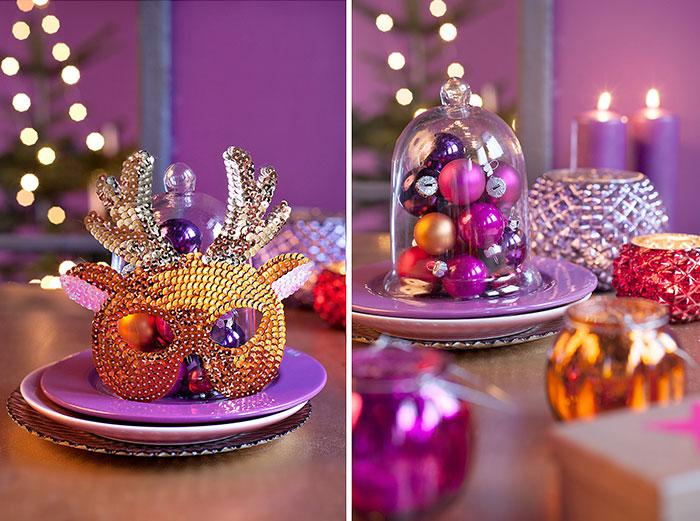 Auffällige Deko für Weihnachtstafel mit Kugeln passend zur Weihnachtstorte