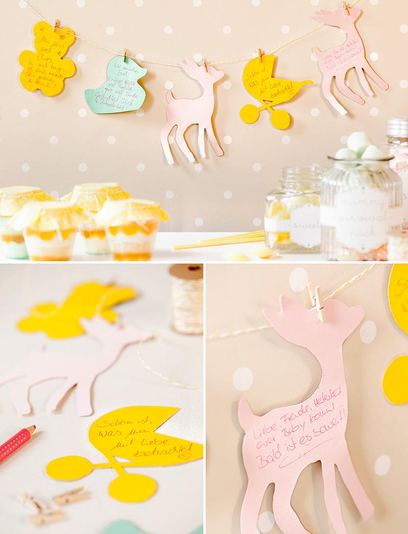 Dekorationsideen für Babyparty mit fruchtigem Dessert