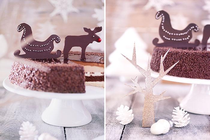 Schnelle Weihnachtstorte mit Rentieren aus Schokolade