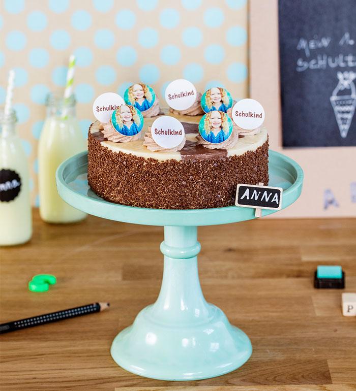Torte zur Einschulung selbst dekoriert mit Fotos