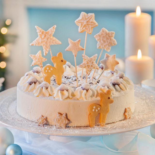 Weihnachtstorte Rezept und Deko-Idee mit vielen Sternen