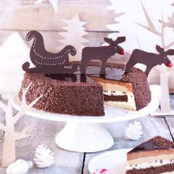 Weihnachtstorte Rezept und Idee mit Schokoladen-Rentieren