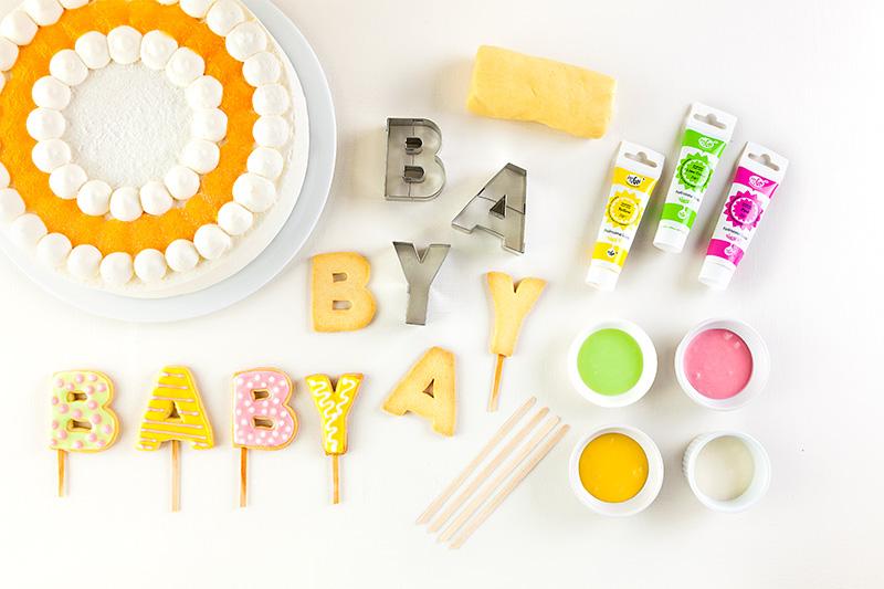 Zutaten Baby Shower Torte mit Buchstaben für Babyparty
